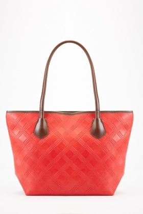 Diamond Embossed Pattern Tote Bag