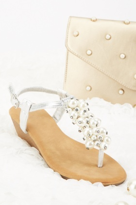 Faux Pearl Detail Wedge Sandals