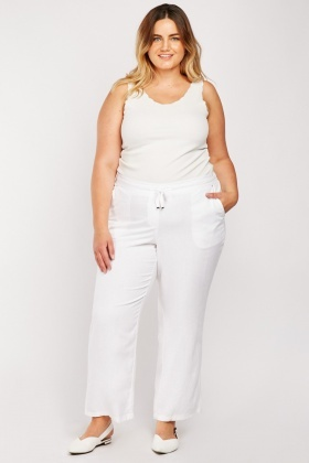 Straight Fit Linen Mix Trousers