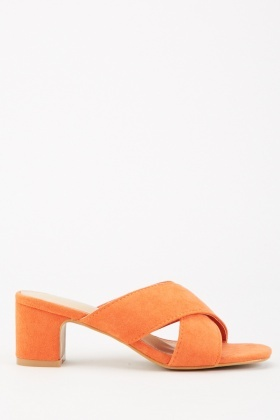 Criss Cross Strap Heeled Mules