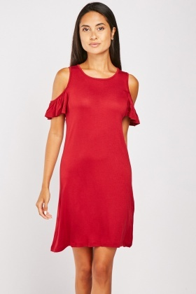 Cold Shoulder Plain Jersey Dress
