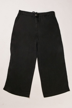 Wide Leg Textured Trousers