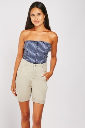 Rolled Hem Long-Line Shorts