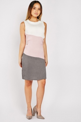 Petite Colour Block Plisse Dress