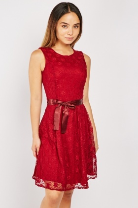 Ribbon Belted Lace Skater Dress
