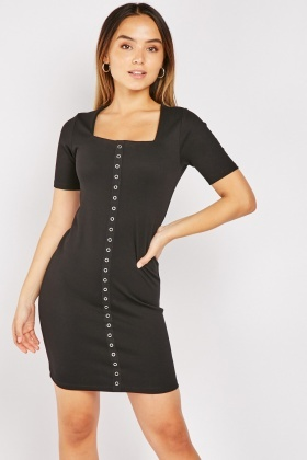 Square Neck Eyelet Trim Dress