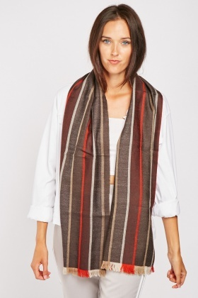 Striped Panel Wool Scarf