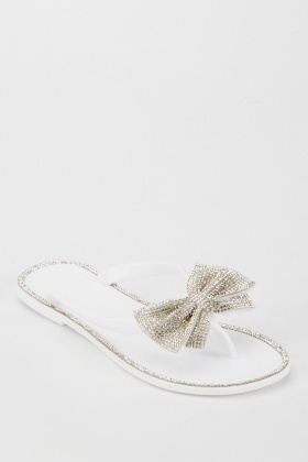 Encrusted Bow Detail Jelly Flip Flops