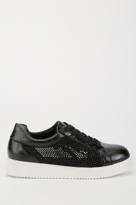 Mesh Insert Lace Up Platform Trainers