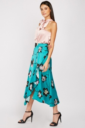 Flower Ruffle Midi Cotton Skirt