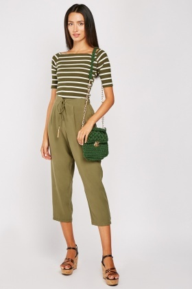 Straight Fit Olive Crop Trousers