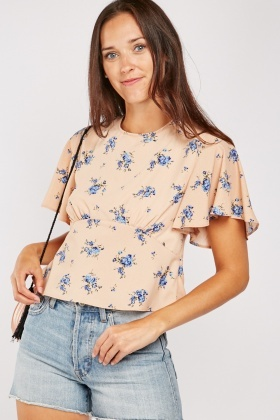 Floral Wrap Back Blouse