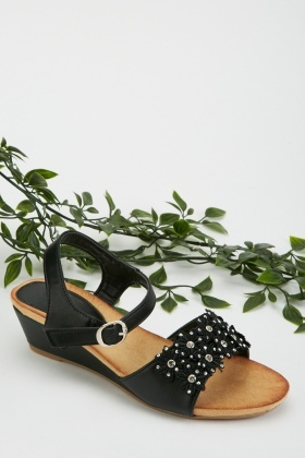 3D Flower Diamante Wedge Sandals