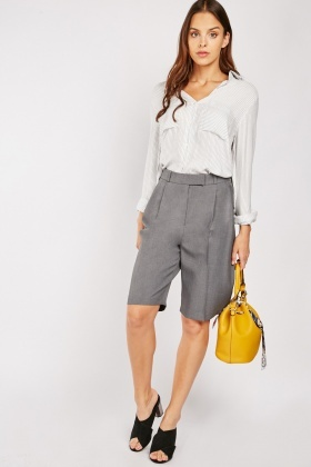 Grey Long-Line Shorts