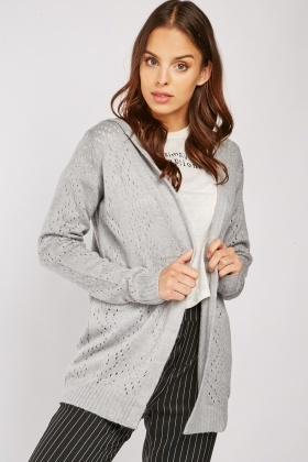 Grey Perforated Long Line Hooded Cardigan