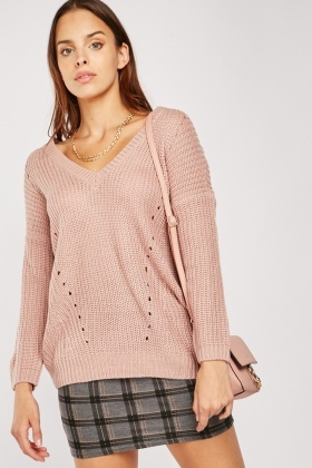 Chunky V-Neck Herringbone Knit Jumper $6.70