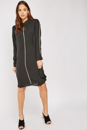 Encrusted Front Shirt Dress