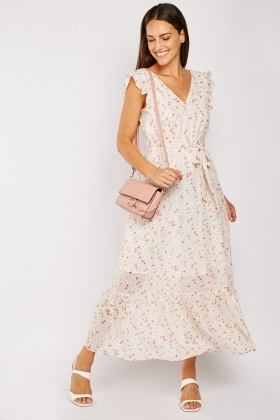 Flower Print Ruffle Sleeve Maxi Dress $6.70