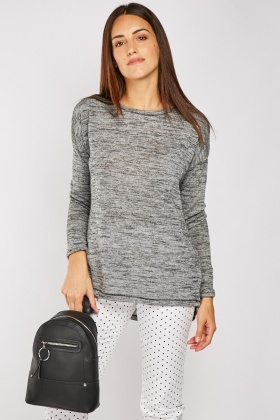 Long Sleeve Speckled Knit Top