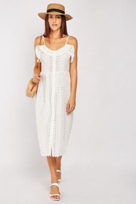 Ruffle Broderie Cotton Dress $6.70