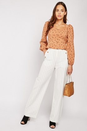 Striped Decorative Button Front Trousers $6.70