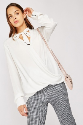 Tie Up Front Wrap Blouse