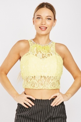 Embellished Feather Trim Lace Top