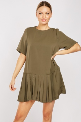 Pleated Panel Smock Dress