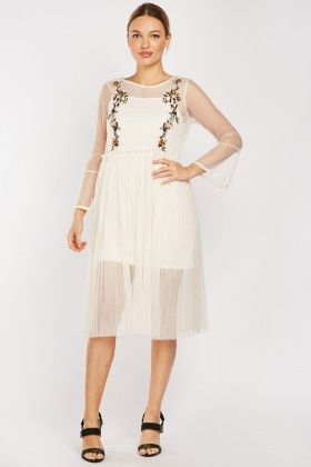 Embroidered Net Overlay Pleated Dress