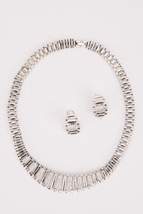 Mesh Link Necklace And Earrings Set