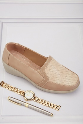 Wedge Textured Slip-On Heels