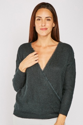 Crochet Trim Wrap Jumper