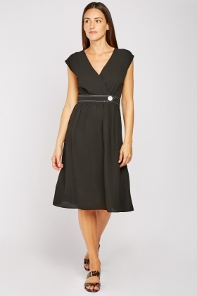 Midi Decorative Button Front Dress