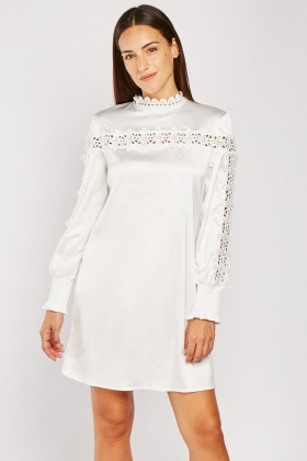 Crochet Trim Sateen Dress