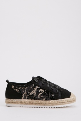 Lace Up Sequinned Espadrilles