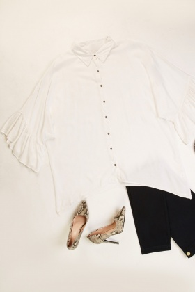 Frilly Sleeve Hem Top