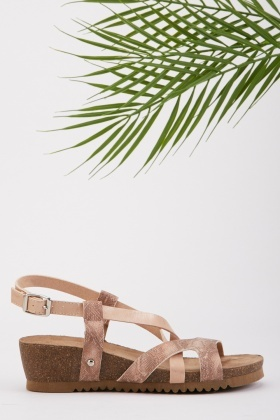 Metallic Criss Cross Wedge Sandals