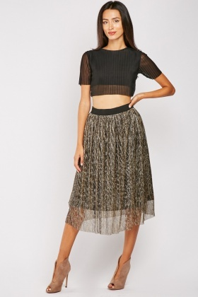 Midi Textured Lurex Skirt