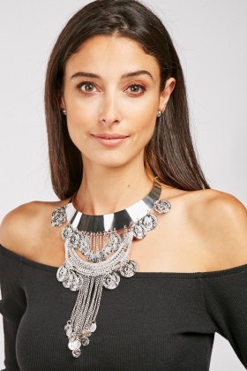 Antique Coin Necklace And Earrings Set