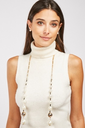 Faux Pearl Open Necklace And Earrings Set