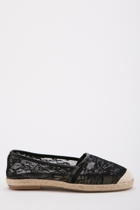Lace Embroidered Espadrilles
