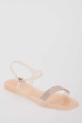 Nude Encrusted Jelly Sandals