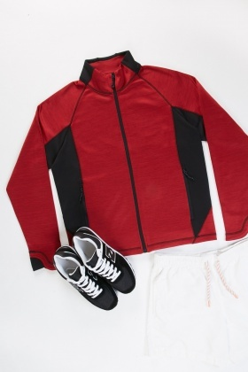 Zip Up Colour Block Mens Jacket