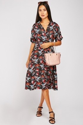 Tropical Print Midi Shirt Dress