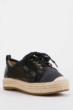 Fishnet Detail Denim Espadrilles