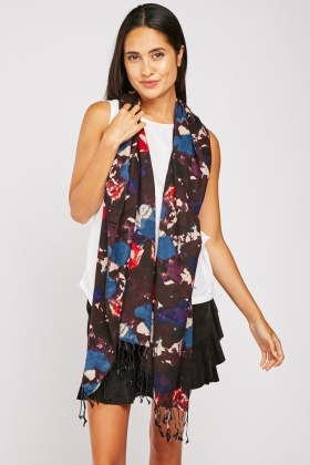 Tie-Dyed Tassel Cotton Scarf