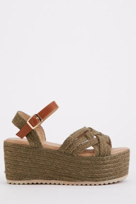 Plaited Rope Wedge Sandals
