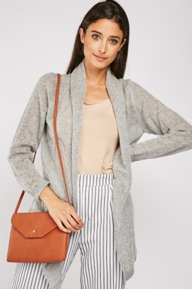 Grey Plain Knit Cardigan