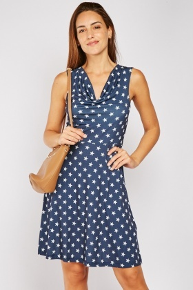 Star Printed Cowl Neck Dress