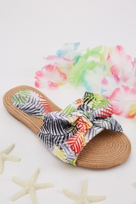 Tropical Print Knotted Slides